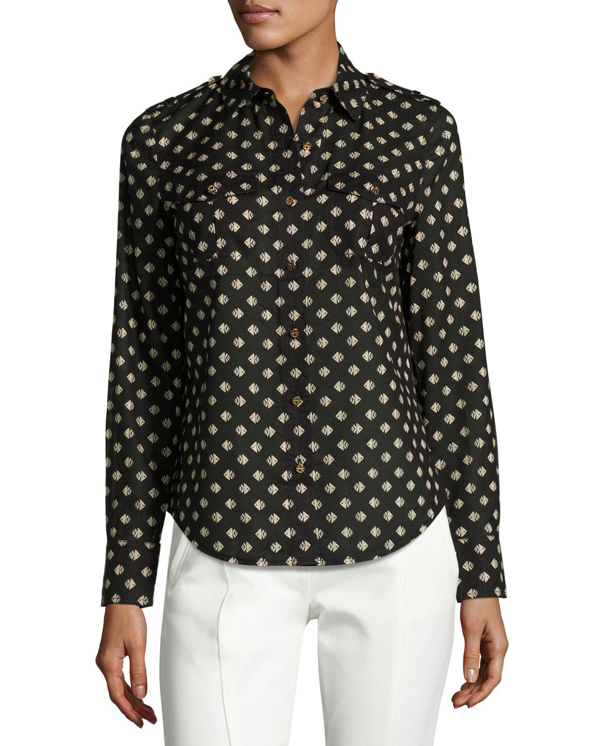 Brigitte Fish-Print Poplin Shirt, Black