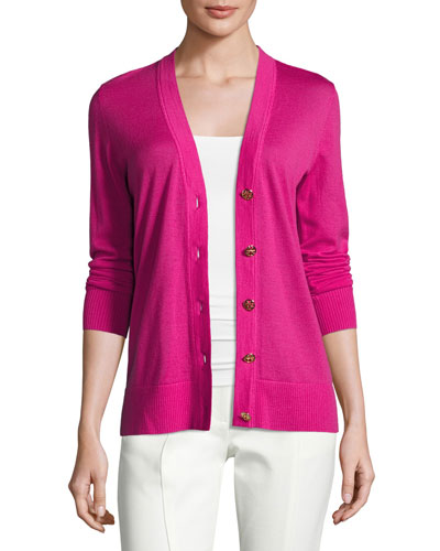 Simone Button-Front Wool Cardigan, Bright Pink