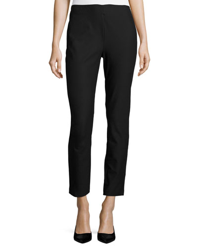 Marcia Slim-Fit Ankle Pants, Black