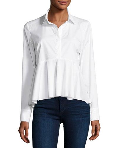 Peplum Solid Poplin Shirt, White