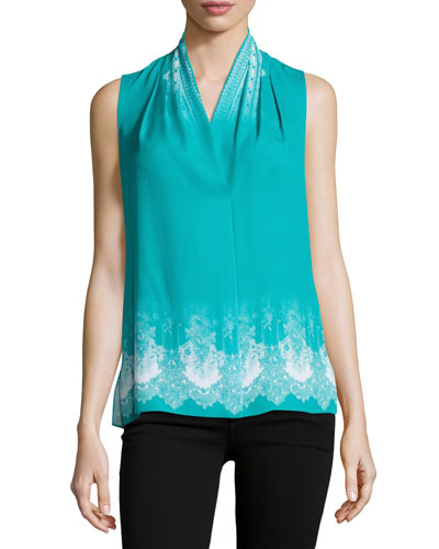 Livvy Sleeveless Lace-Print Silk Blouse, Multi