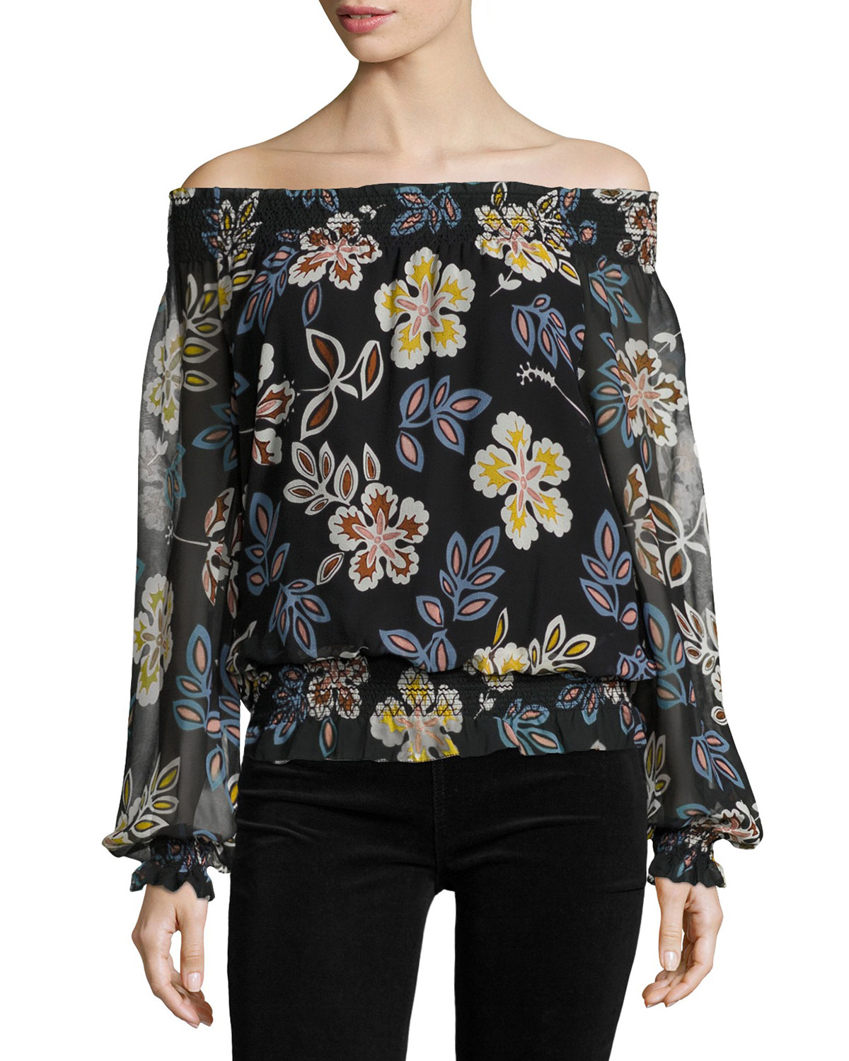Indie Floral-Print Off-the-Shoulder Silk Blouse, Black