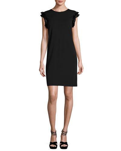 Luisa Ruffled Cap-Sleeve Shift Dress w/ Tie Back, Black