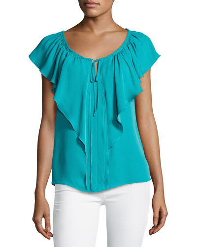 Venetta Short-Sleeve Ruffled Silk Blouse, Aqua