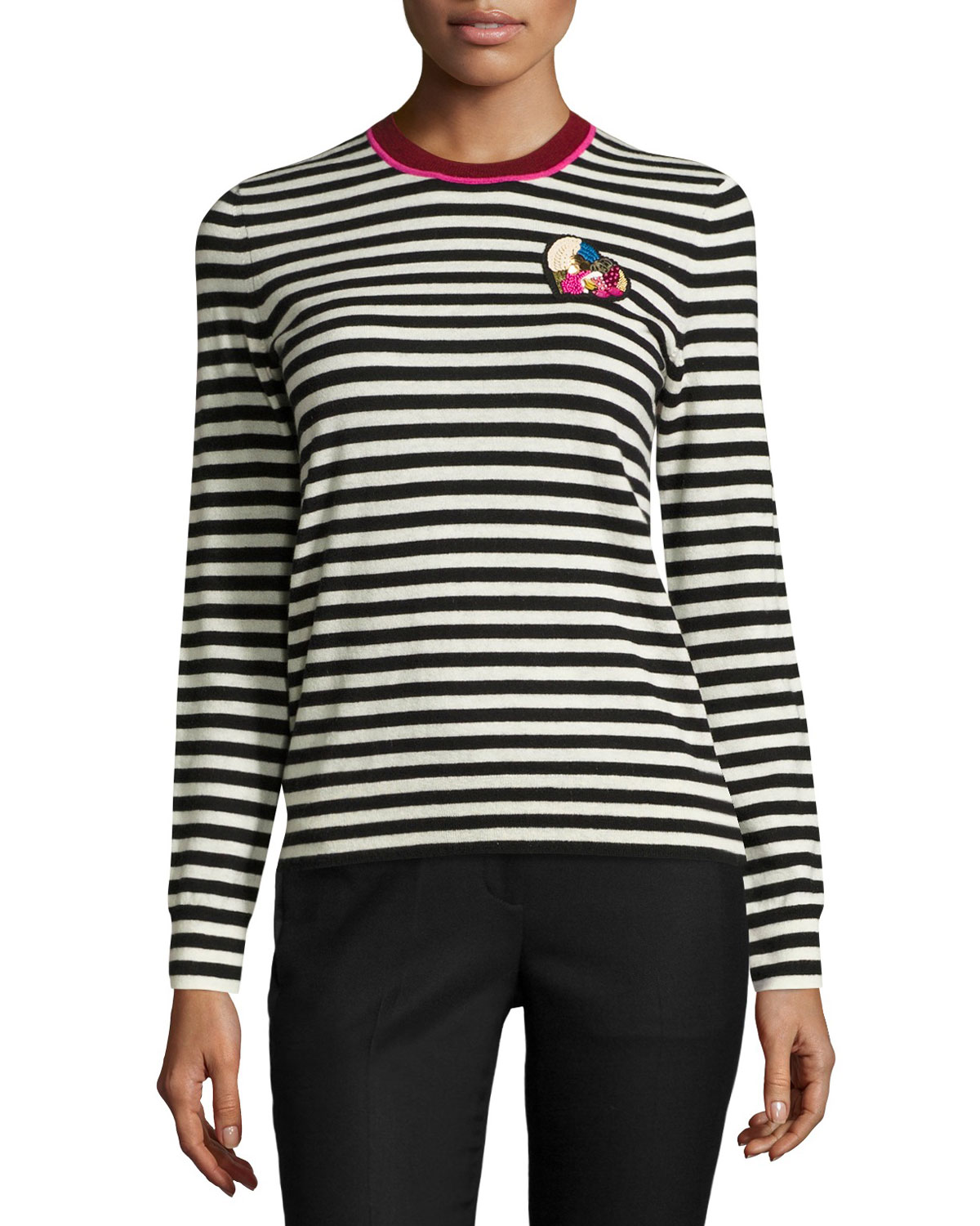 Stripe-Print Heart-Patch Cashmere Sweater, Black/White