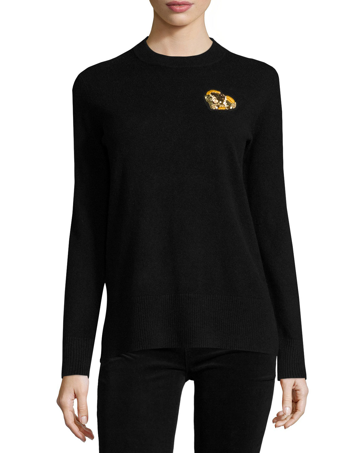 Cashmere Pullover w/ Gold Heart Patch, Black