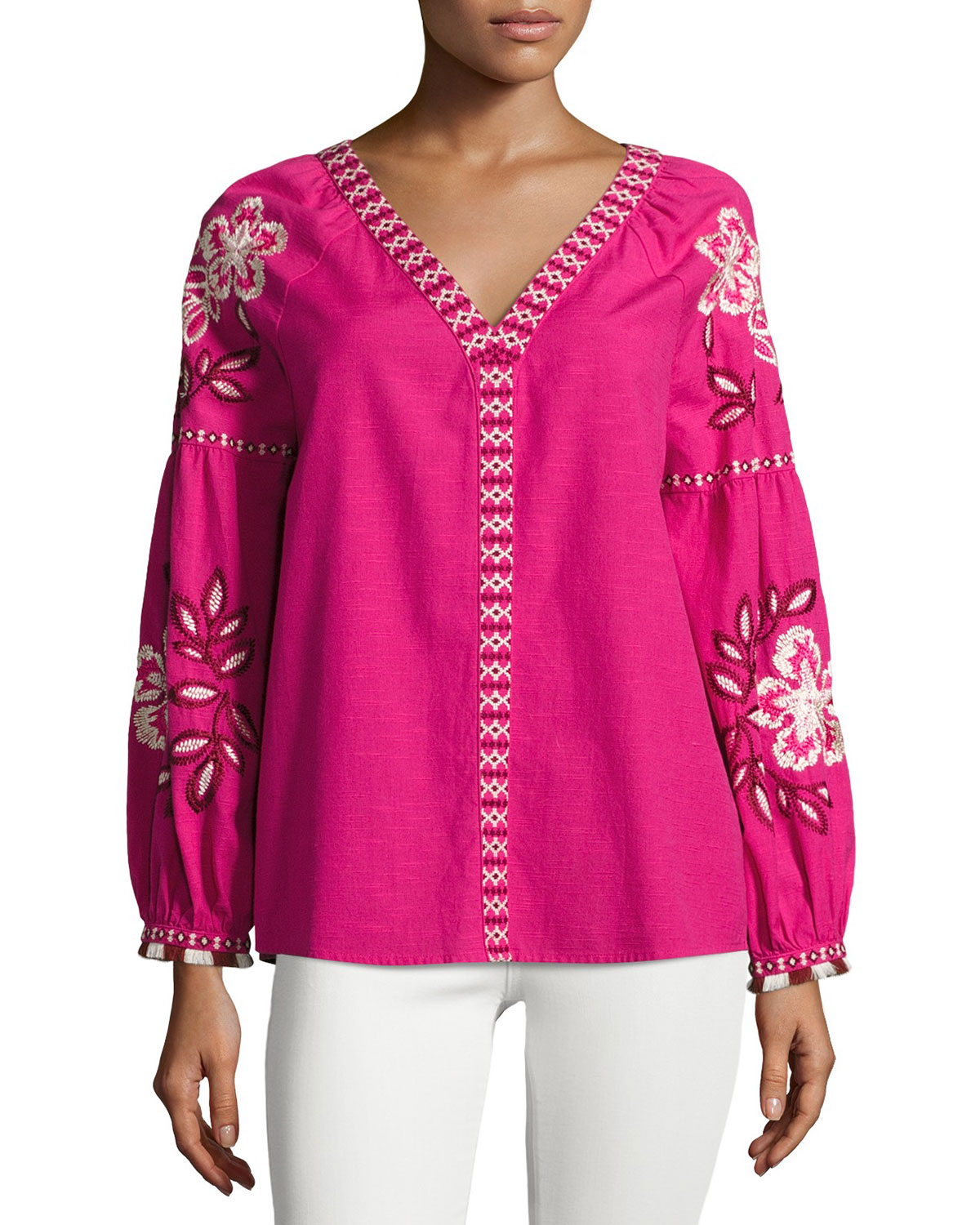 Theresa Hibiscus-Embroidered Cotton Tunic, Bright Pink