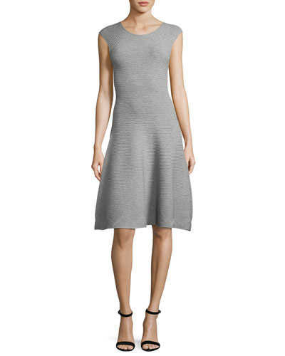 Cap-Sleeve Geometric-Textured Fit-&-Flare Dress, Gray