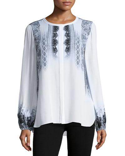 Sheri Long-Sleeve Lace-Print Silk Blouse, Multi