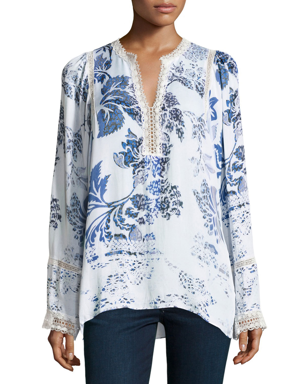 Hadar Lace-Trim Printed Silk Blouse, Multi