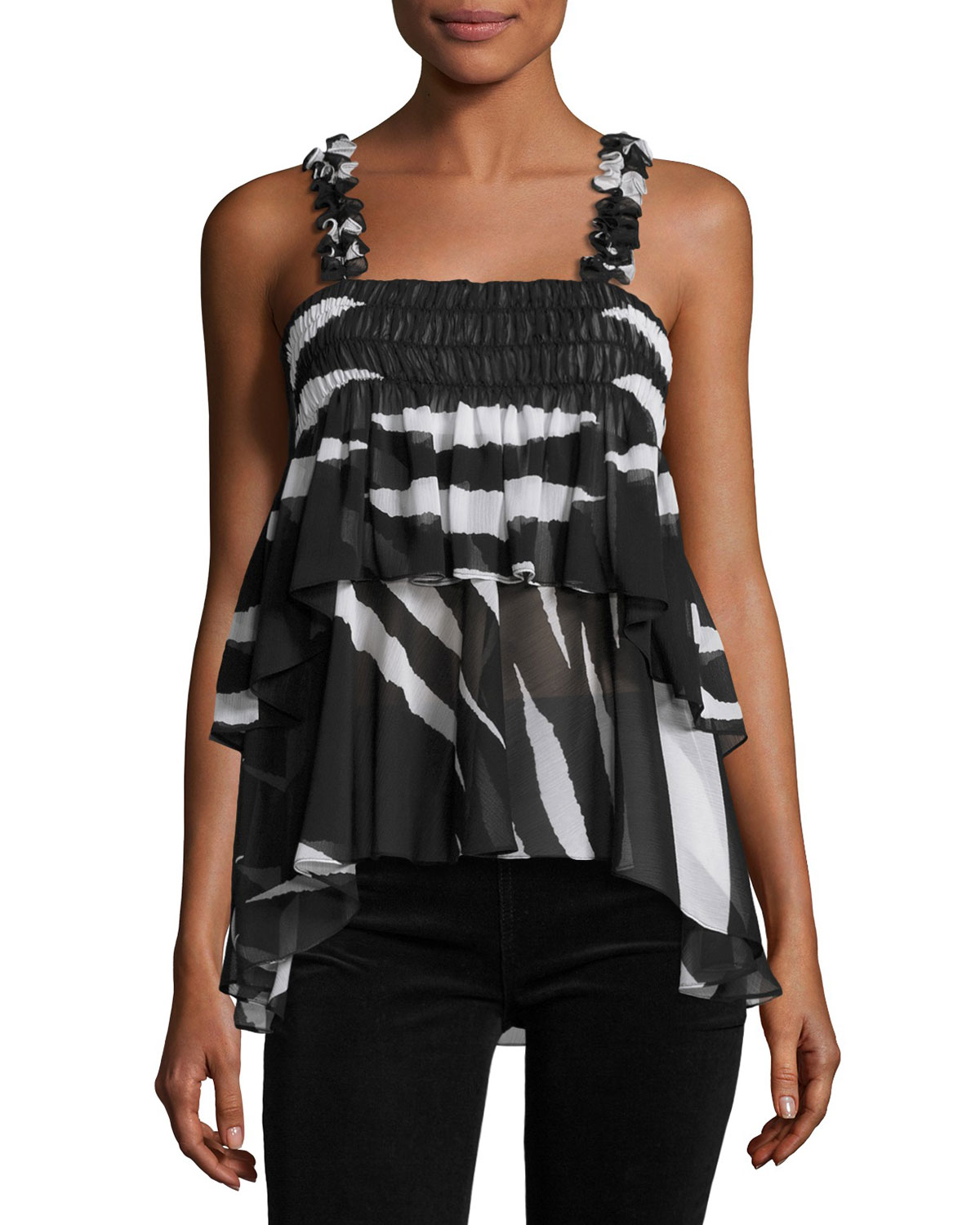 Lucca Sleeveless Animal-Striped Ruffled Top, Black/White