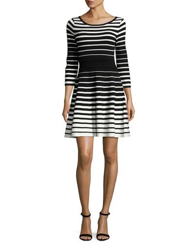 Stripe-Print Flare Dress, Black