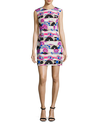 Sleeveless Banded Modern-Print A-Line Dress, Multi
