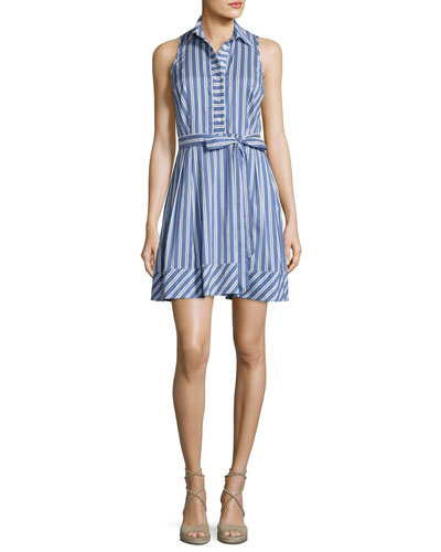 Sleeveless Striped Tie-Waist Shirtdress, Blue