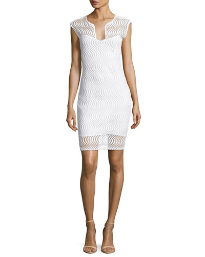 Scalloped Lace Cocktail Dress, Ivory