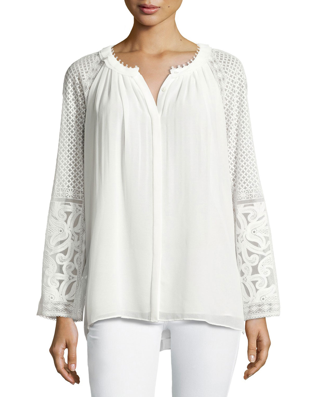 Daniela Long-Sleeve Pleated Blouse, White