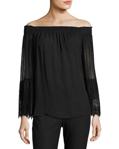 Veruka Off-the-Shoulder Silk Blouse, Black
