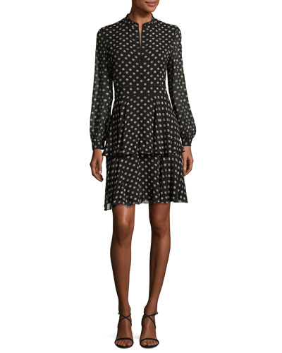 Seymore Fish-Print Long-Sleeve Dress, Black