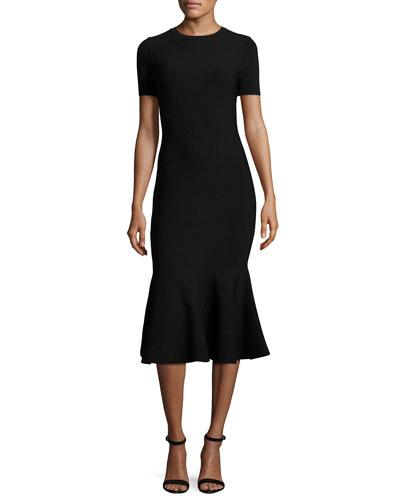 Short-Sleeve Mermaid Midi Dress, Black