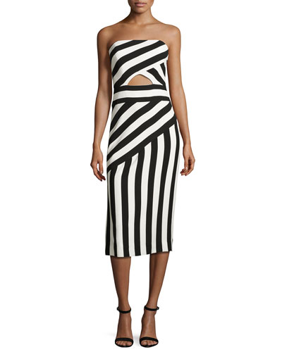 Striped Strapless Cutout Dress, Black/White