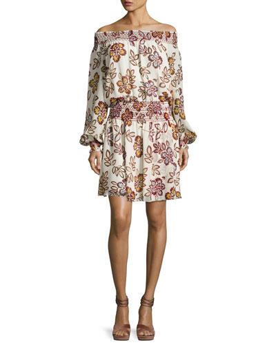 Indie Smocked Off-the-Shoulder Floral Silk Dress, Ivory