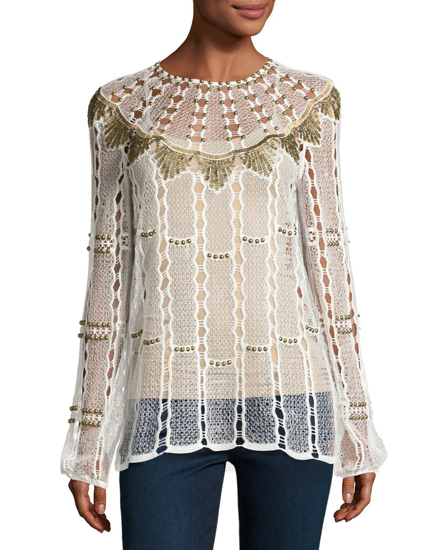 Rikki Long-Sleeve Beaded Crochet Blouse, White
