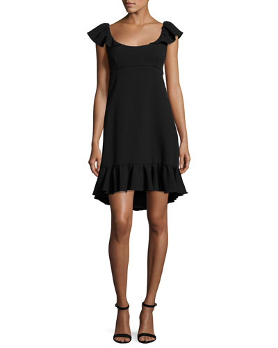 Lindsey Cap-Sleeve Cady Dress, Black