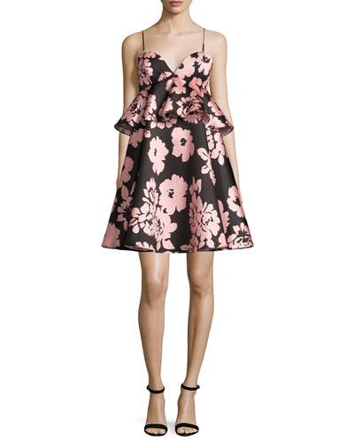 Melody Floral-Print Peplum-Waist Babydoll Dress, Light Pink