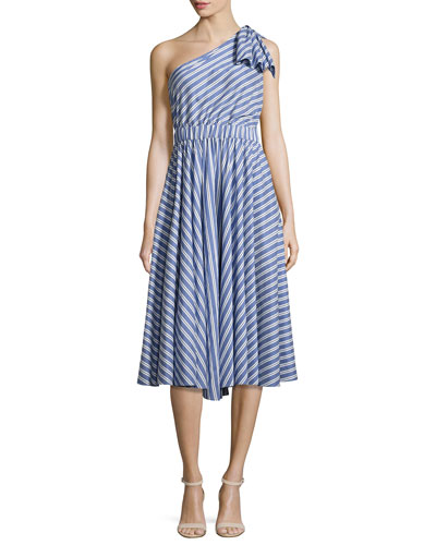 Anna Striped A-Line Dress, Blue