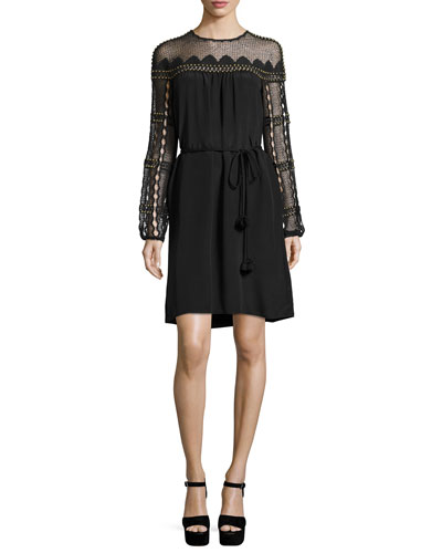 Paidyn Embellished Lace-Yoke Silk Dress, Black