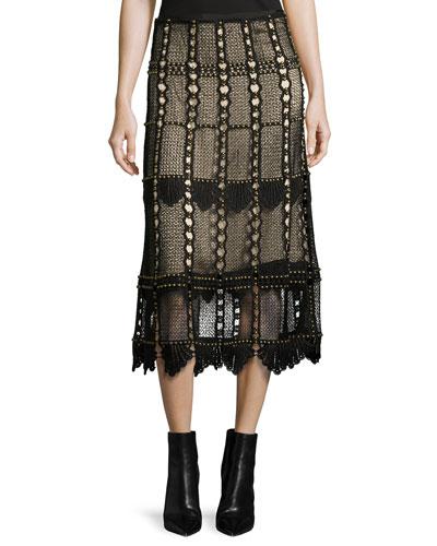 Tulsi Studded Lace Midi Skirt, Black