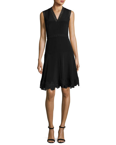 Adena Sleeveless Lace-Trim A-Line Dress