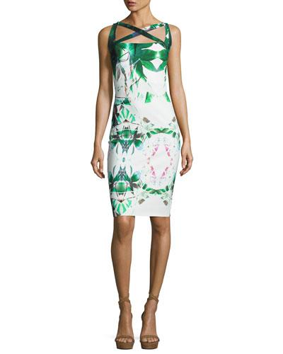 Angela Sleeveless Jersey Sheath Dress, Forest