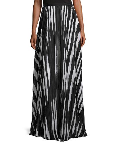 Animal-Striped Pleated Maxi Skirt, Black/White