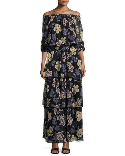 Indie Floral-Print Ruffle Smocked Dress, Black