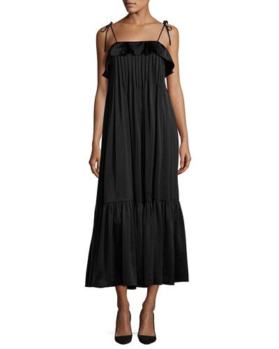 Pintucked Tie-Strap Midi Dress, Black
