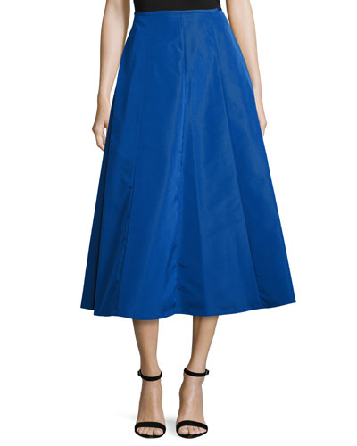 Shirred-Back Flare Midi Skirt, Cobalt