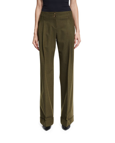 Wide-Leg Stretch-Wool Pants, Olive