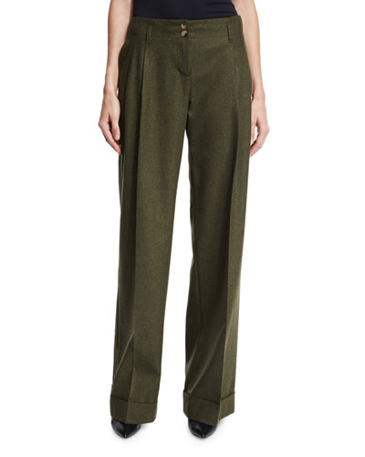 Wide-Leg Cashmere-Blend Pants, Olive