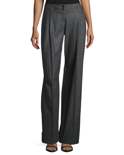 Wide-Leg Pinstripe Pleated Pants, Charcoal