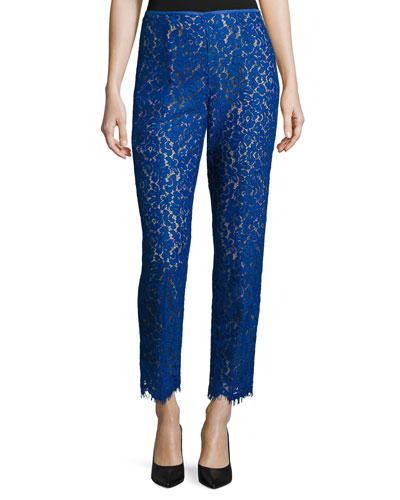 Allover Lace Skinny-Style Pants, Cobalt