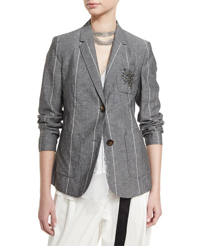 Striped Two-Button Jacket w/Starburst Patch, Gray