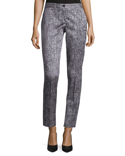 Samantha Herringbone Skinny Pants, White/Black