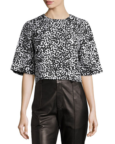 Dotted Matelasse Crop Top, White/Black