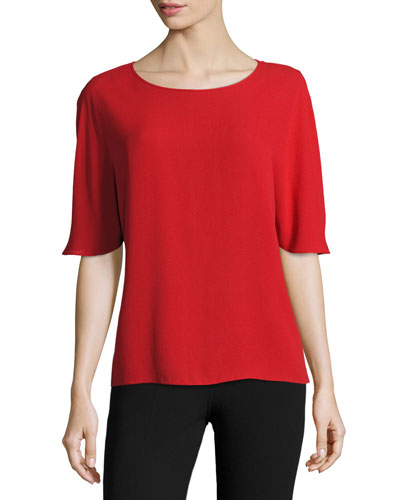 Short-Sleeve Silk Cape Blouse, Crimson