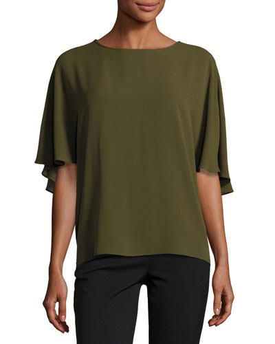 Short-Sleeve Silk Cape Blouse