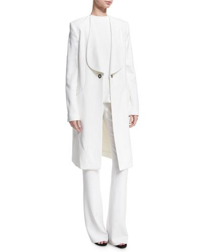 Shawl-Collar Long Coat, White