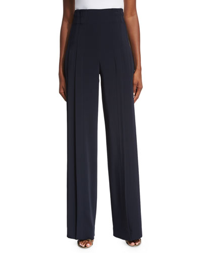 High-Waist Triple-Pleat Pants, Blue