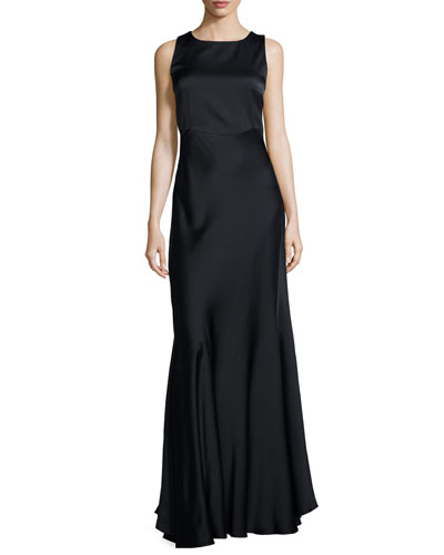 Sleeveless A-Line Gown, Navy