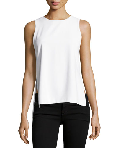 Gayle Clean High-Side Slit Tank, White